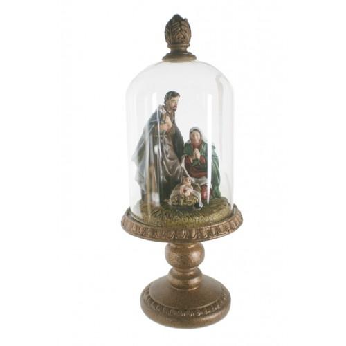 Belén en urna de cristal. Medidas: 36xØ14 cm.