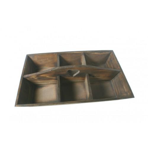 Bandeja de madera maciza color nogal con 6 departamentos. Medidas: 9x45x30 cm.