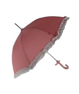 Paraguas infantil estampado corazones color rosa con flecos. Medidas: 70xØ80 cm.