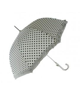 Paraguas de Señora color blanco estampado en topos y flecos a juego.  Medidas: 90xØ95 cm.