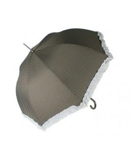 Paraguas de Señora color marrón estampado en topos y flecos a juego. Medidas: 90xØ95 cm.