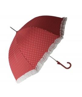 Paraigües de pluja per a senyora color vermell estampat cors blancs i serrells a joc obertura automàtica. Mesures: 90xØ95 cm.