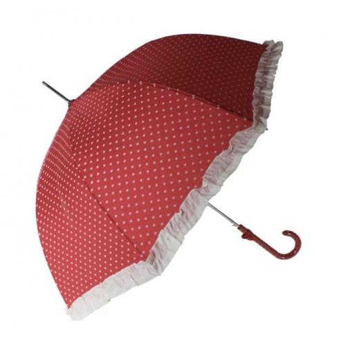 Paraigües de pluja color vermell i cors blancs i volant obertura automàtica regal per dia de la mare i amiga paraigua original
