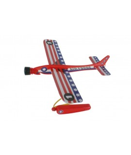 Avió planejador de catapulta en colors variats. Mesures: 20x22 cm.