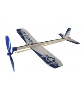 Aviateur planeur en bois avec hélice à corde. Mesures: 30x30 cm.