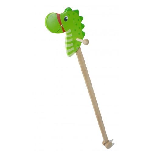Caballito de palo de madera Dragón. Medidas: 96x20x20 cm.