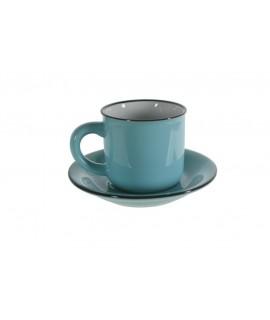 Taza de café con plato estilo vintage retro color azul con bordes negros servicio de mesa