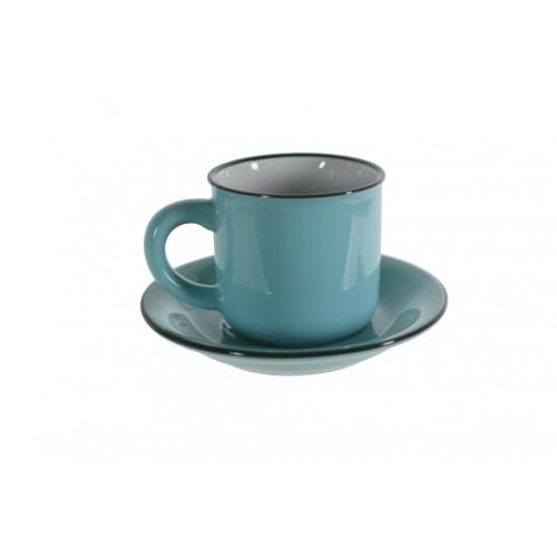 Taza de café expreso con plato color azul retro. Medidas conjunto: 7xØ 11 cm.