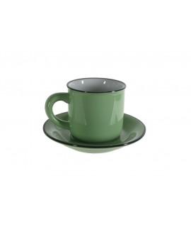 Taza de café con plato estilo vintage retro color verde con bordes negros servicio de mesa