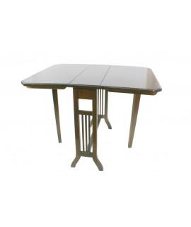 Mesa auxiliar baja plegable en madera de caoba. Medidas: 60x82x62 cm.