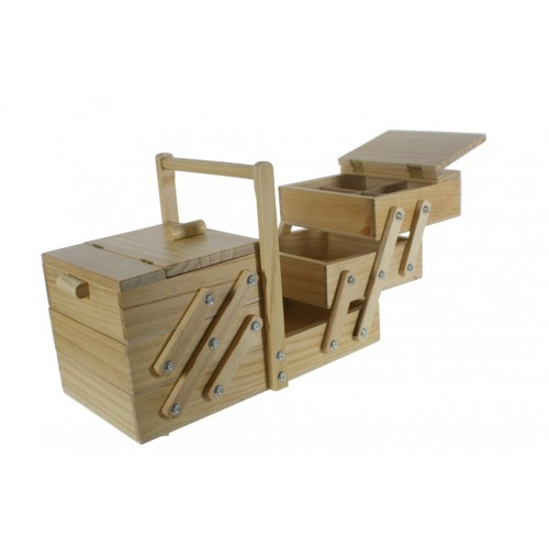 Costurero extensible grande de madera color natural con departamentos. Medidas plegado: 30x23x40 cm.