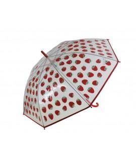 Grand parapluie transparent pour enfants avec dessins de fraises ouverture automatique pour les jeunes