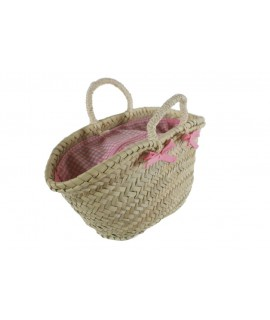 Cabàs mallorquí infantil tancat color rosa amb ansa de corda. Mesures: 15x30x12 cm.