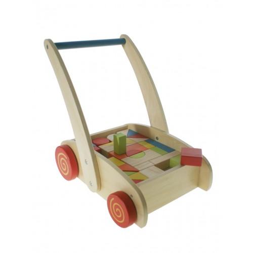 Carrito de madera primeros pasos cubos geométricos juguete arrastre