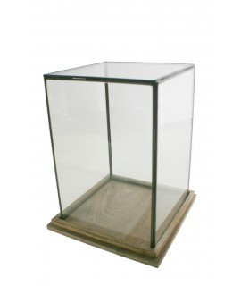 Urna de cristal con perfil metálico y base de madera. Medidas: 32x25x25 cm.