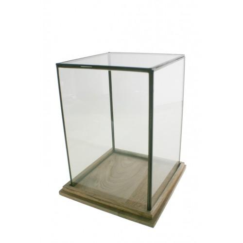 Urna de cristal con perfil metálico y base de madera