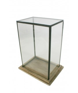 Urna de cristal rectangular con perfil metálico y base de madera. Medidas: 33x25x18 cm.