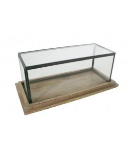 Urna de vidre baixa rectangular amb perfil metàl·lic i base de fusta. Mesures: 14x34x16 cm.