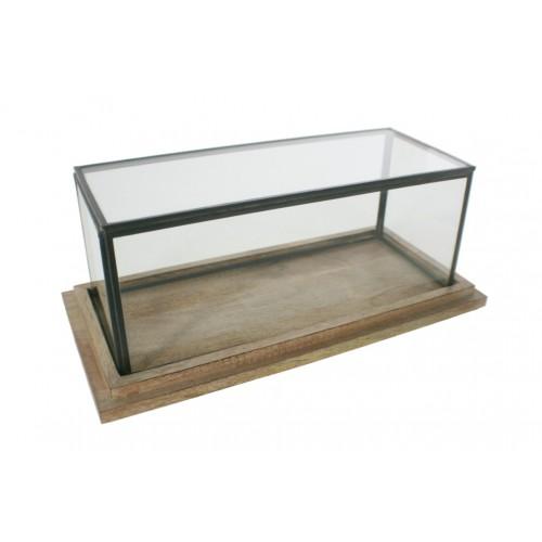 Urna de cristal baja rectangular con perfil metálico y base de madera. Medidas: 14x34x16 cm.