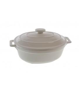 Mini cocotte ovale en céramique blanche. Mesures: 9x19x13 cm.