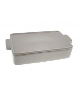 Font rectangular apilable de ceràmica blanca. Mesures: 5x25x14 cm.