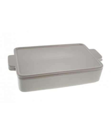 Fuente rectangular apilable de cerámica blanca. Medidas: 5x25x14 cm.