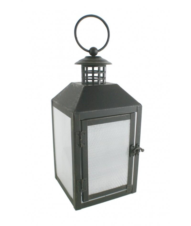 Lanterne métallique noire à LED pour accrocher. Mesures: 30x12x12 cm.