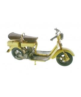 Moto rétro en métal jaune. Mesures: 15x30x10 cm.