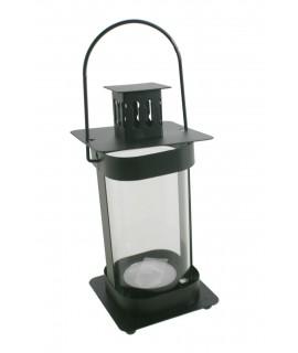 Fanalet de metall i vidre color negre per espelmes Light. Mesures: 20x8x8 cm.
