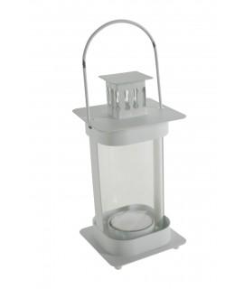 Fanalet de metall i vidre color blanc per espelmes Light. Mesures: 20x8x8 cm.