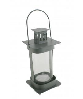Fanalet de metall i vidre color gris per espelmes Light. Mesures: 20x8x8 cm.