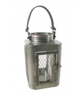 Lanterne industrielle en métal pour grandes bougies. Mesures: 37x16x16 cm.