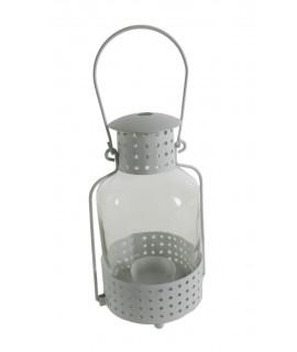 Fanal blanc de metall i vidre per a veles light. Mesures: 24xØ9 cm.