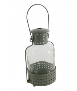 Lampadaire gris en métal et verre pour bougies légères. Mesures: 24xØ9 cm.