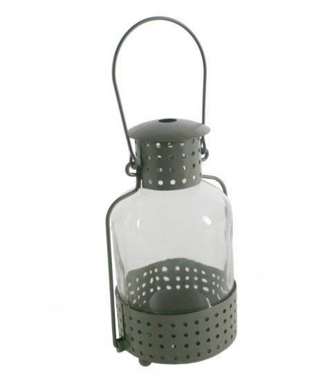 Fanal gris de metall i vidre per a veles light. Mesures: 24xØ9 cm.