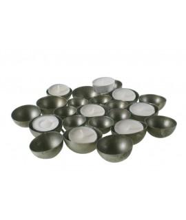 Porta espelmes de metall tipus safata per 15 espelmes light. Mesures: 3xØ24 cm.