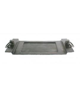 Plateau vide poches en aluminium bronze avec des anneaux. Mesures: 7x53x19 cm.