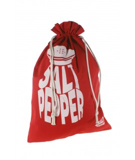Bolsa para el para en tela estampada color rojo. Medidas: 57x37 cm.