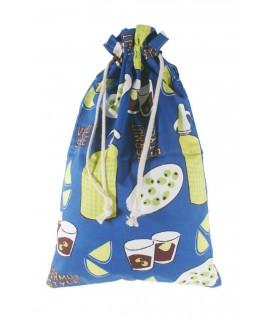 Bossa per al per tela estampada en blau disseny Vermut. Mesures: 57x37 cm.