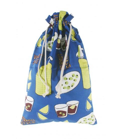 Bolsa para el para tela estampada en azul diseño Vermut. Medidas: 57x37 cm.