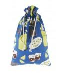 Bolsa para el pan tela estampada en azul diseño Vermut. Medidas: 57x37 cm.