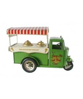 Chariot de moto de glaces de couleur verte. Mesures: 20x30x12 cm.