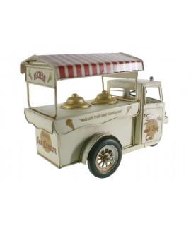 Chariot de moto de crème glacée blanche. Mesures: 20x30x12 cm.