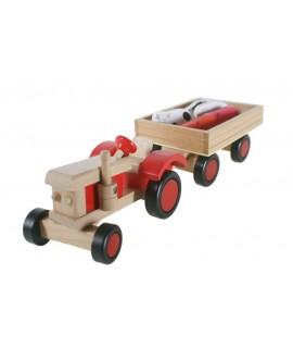 Tractor de madera con remolque y animales. Medidas: 10x40x13 cm.