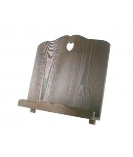 Atril de madera maciza envejecida color nogal oscuro forma corazón. Medidas: 30x32x18 cm.