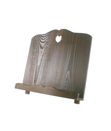 Atril de madera envejecida color nogal oscuro forma corazón. Medidas: 30x32x18 cm.