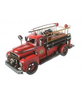 Camion de pompier en métal style rétro de grande taille. Mesures: 17x41x15 cm.