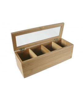Caixa rectangular fusta de bambú per sobres d'infusió. Mesures: 9x27x9 cm.