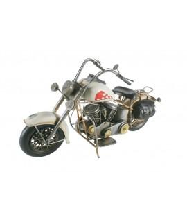 Moto decoració retro de metall mida gran color blanc. Mesures: 23x41x13 cm.