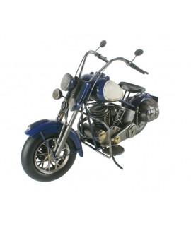 Décoration en métal Moto grande taille bleu et blanc. Mesures: 23x41x13 cm.